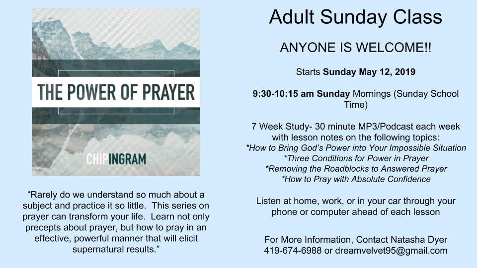 Adult Sunday Class | St  John's Evangelical Church